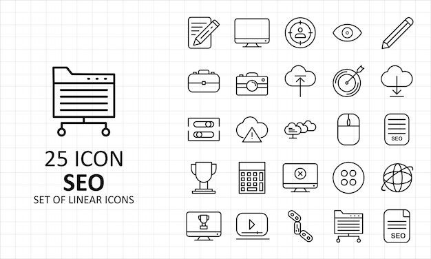 Seo 25 icône feuille pixel parfait icônes