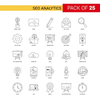 Seo analytics black line icon - jeu d'icônes de contour 25 affaires