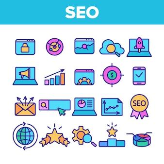 Seo icônes d'optimisation de moteur de recherche seo