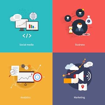 Seo marketing composition élément plat sertie de médias sociaux analyse d'entreprise isolé illustration vectorielle