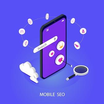 Seo ou optimisation de moteur de recherche mobile isométrique. stratégie de marque et concept de vecteur plat marketing de médias numériques