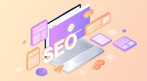 Seo optimisation des moteurs de recherche page de destination développement de la page du site web le processus de travail