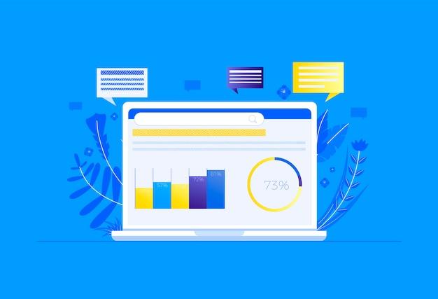 Seo sur l'ordinateur. optimisation du moteur de recherche. la première place pour un site