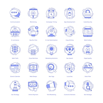 Seo vector icons set