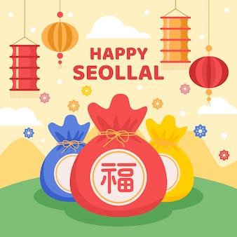 Seollal dessiné à la main (nouvel an coréen)