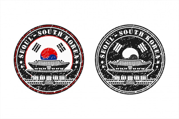 Séoul corée du sud stamp travel design logo