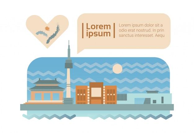 Séoul, rue, ville, panorama, façade, horizon, dessin animé
