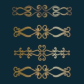 Séparateur art déco. bordure d'arts rétro or, ornements décoratifs et jeu de frontières de séparateurs dorés