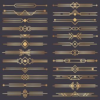 Séparateur art déco. frontière d'arts rétro doré, ornements décoratifs des années 1920 et ensemble de bordures de séparations dorées
