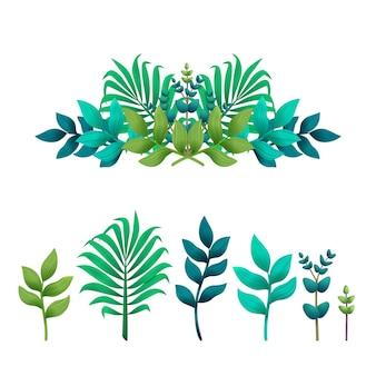 Séparateur ou bordure de feuilles tropicales et ensemble de feuilles exotiques