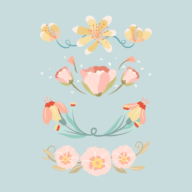 Séparateur de fleurs, ensemble d'illustrations vectorielles autocollant mignon pastel
