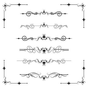Séparateur de texte décoratice diviseur livre typographie ornement éléments de conception vintage divisant les formes frontière illustration