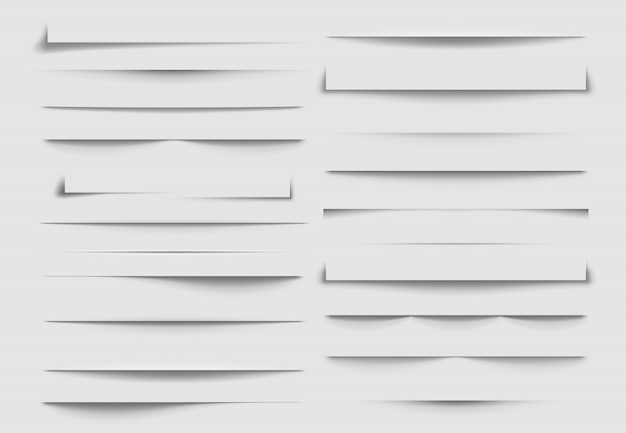Séparateurs d'ombre isolés. ombres jetées par une feuille de papier. illustration