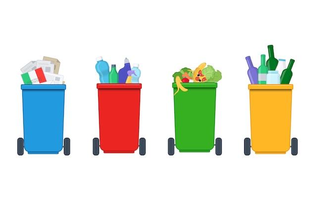 Séparation des déchets sur des poubelles colorées