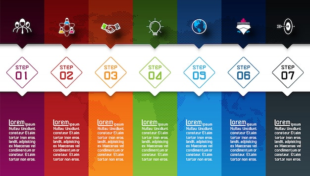 Sept barres colorées avec infographie icône affaires.