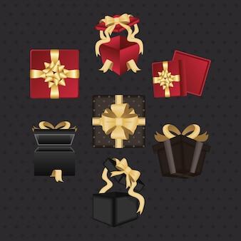 Sept cadeaux présente des icônes