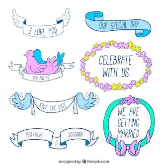 Sept étiquettes de mariage dessinés à la main