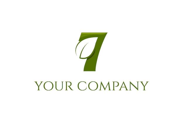 Sept feuilles minimalistes simples pour le vecteur de conception de logo d'environnement de jardin d'arbres de plantes