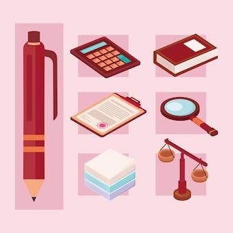 Sept icônes de conseils juridiques