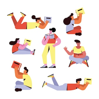 Sept personnes lisant des personnages de livres