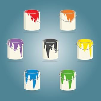 Sept seaux de peinture