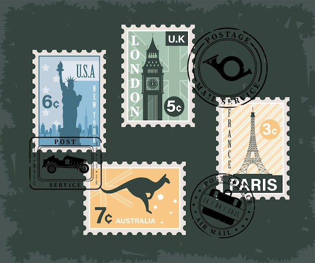 Sept timbres-poste