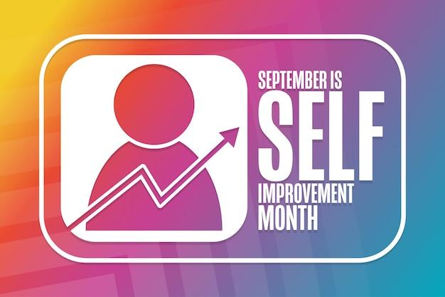 Septembre est le mois de l'amélioration de soi. notion de vacances. modèle d'arrière-plan, bannière, carte, affiche avec inscription de texte. illustration vectorielle eps10.