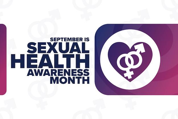 Septembre est le mois de la sensibilisation à la santé sexuelle. notion de vacances. modèle d'arrière-plan, bannière, carte, affiche avec inscription de texte. illustration vectorielle eps10.