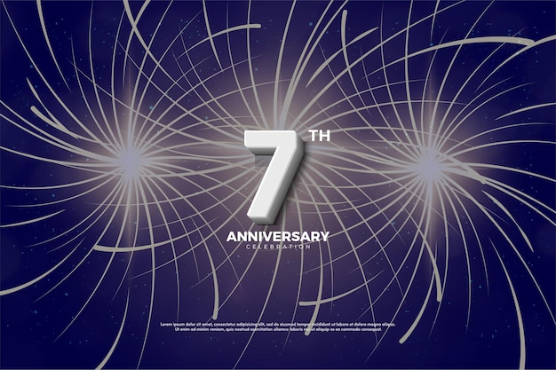 Septième anniversaire avec des chiffres et des feux d'artifice en arrière-plan