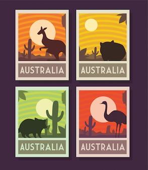 Série d'affiches avec des animaux d'australie