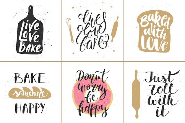 Série d'affiches de lettrage de boulangerie de vecteur