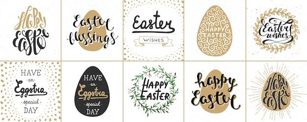 Série d'affiches de lettres de pâques, cartes de voeux
