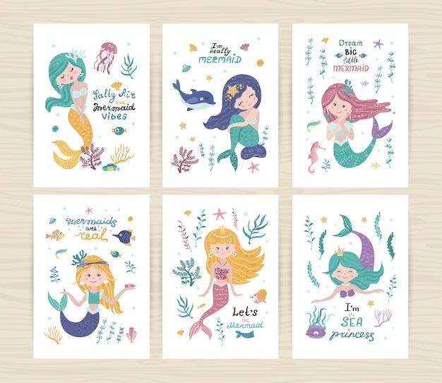 Série d'affiches avec sirènes, étoiles de mer, algues et corail
