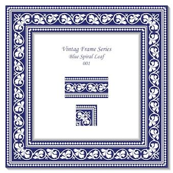 Série de cadre vintage de feuille de croix en spirale bleu antique