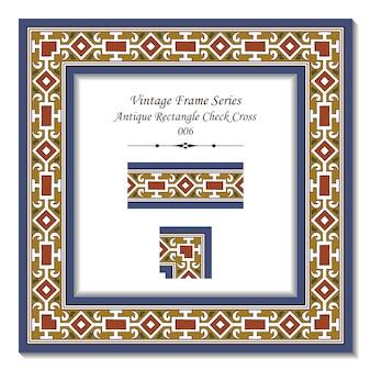Série de cadres vintage de croix à carreaux rectangle antique