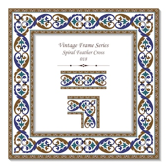Série de cadres vintage de croix de plumes en spirale rétro