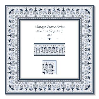 Série de cadres vintage de feuille de forme d'éventail bleu