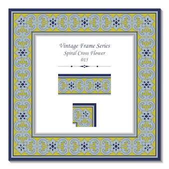 Série de cadres vintage de fleur de croix en spirale antique