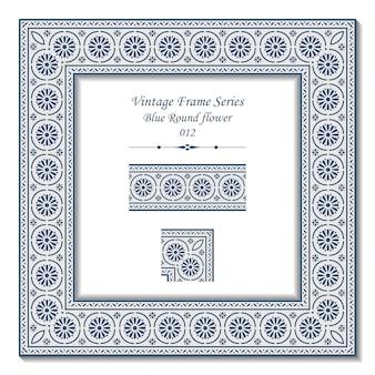 Série de cadres vintage de fleur ronde bleue