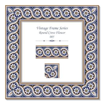 Série de cadres vintage de fleur ronde spral cross