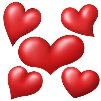 Série de coeurs rouges isolé sur fond blanc.