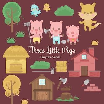 Série de conte de fées trois petits cochons
