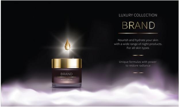 Série cosmétique nocturne pour les soins du visage