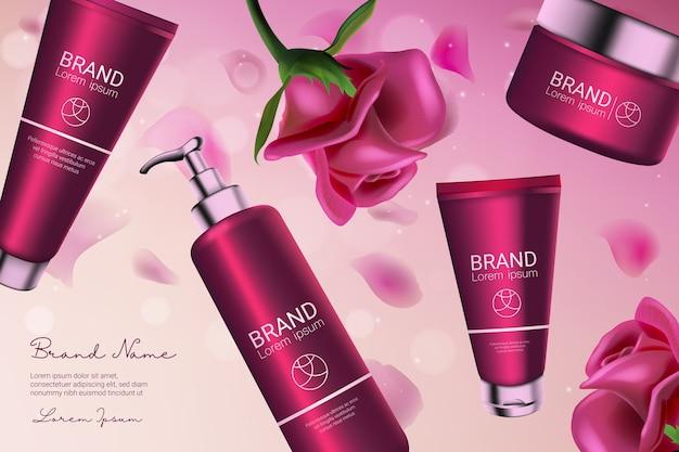 Série de cosmétiques rose rose avec distributeur pour hydratant pour le corps, crème liquide de soin du visage