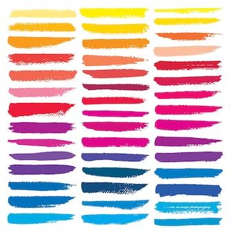 Série de coups de pinceau, coups de pinceau d'encre grunge coloré.