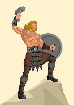 Série d'illustration vectorielle dieu nordique et déesse, thor, le dieu du tonnerre et de la foudre