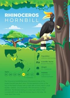 Série d'infographie animale - calao rhinocéros