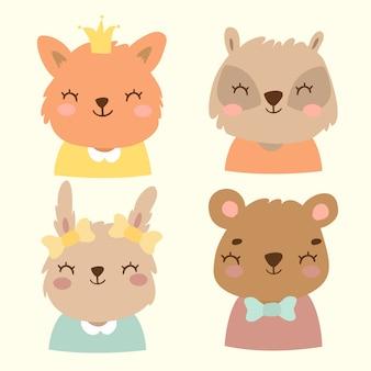 Série de portraits d'animaux mignons