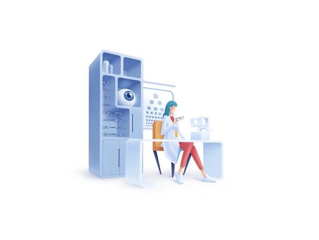 Série de soins de santé: illustration ophtalmologiste
