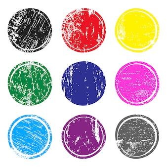 Série de timbres poste multicolores avec texture grunge.